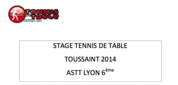stage de tennis de table des vacances de la toussaint